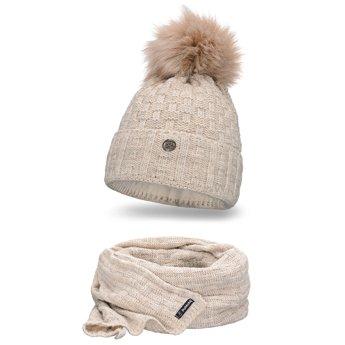 Komplet damski czapka szalik beżowy