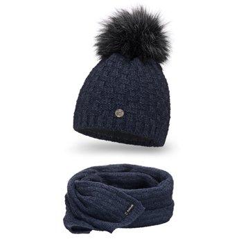 Komplet damski luksus czapka szalik granat