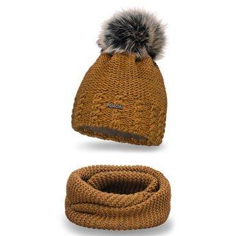 Komplet zimowy pompon czapka komin musztardowy