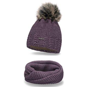 Komplet zimowy pompon czapka komin śliwkowy